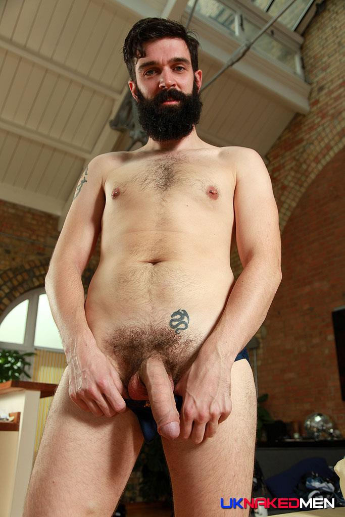 UK-Naked-Men-Tom-Long-Bearded-Guy-With-A-Big-Uncut-Cock-Jerk-Off-Amateur-Gay-Porn-12 Bearded Guy From England Jerking His Big Uncut Cock