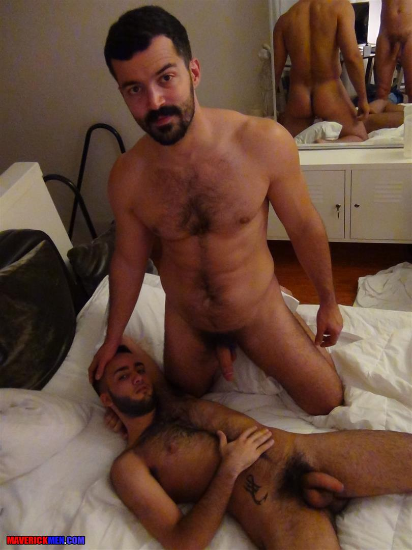 image Huge cock young man jerks off with two craving dudes