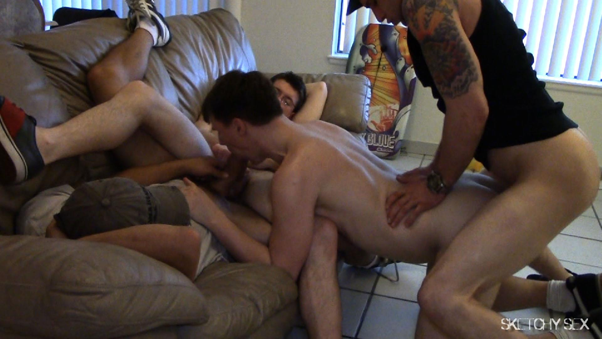 Sketchy-Sex-Craigslist-Hookup-Bareback-Sex-Party-Amateur-Gay-Porn-15 Craigslist Slut Takes Three Bare Cocks At One Time
