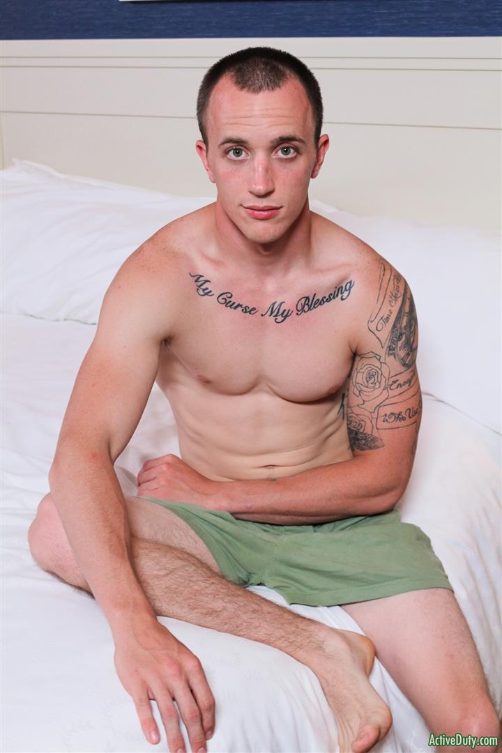 Active-Duty-James-Straight-Army-Guy-Jerking-Off-His-Big-Cock-Amateur-Gay-Porn-07 Tatted Straight Army Hunk Auditions For Gay Porn and Shoots A Big Load