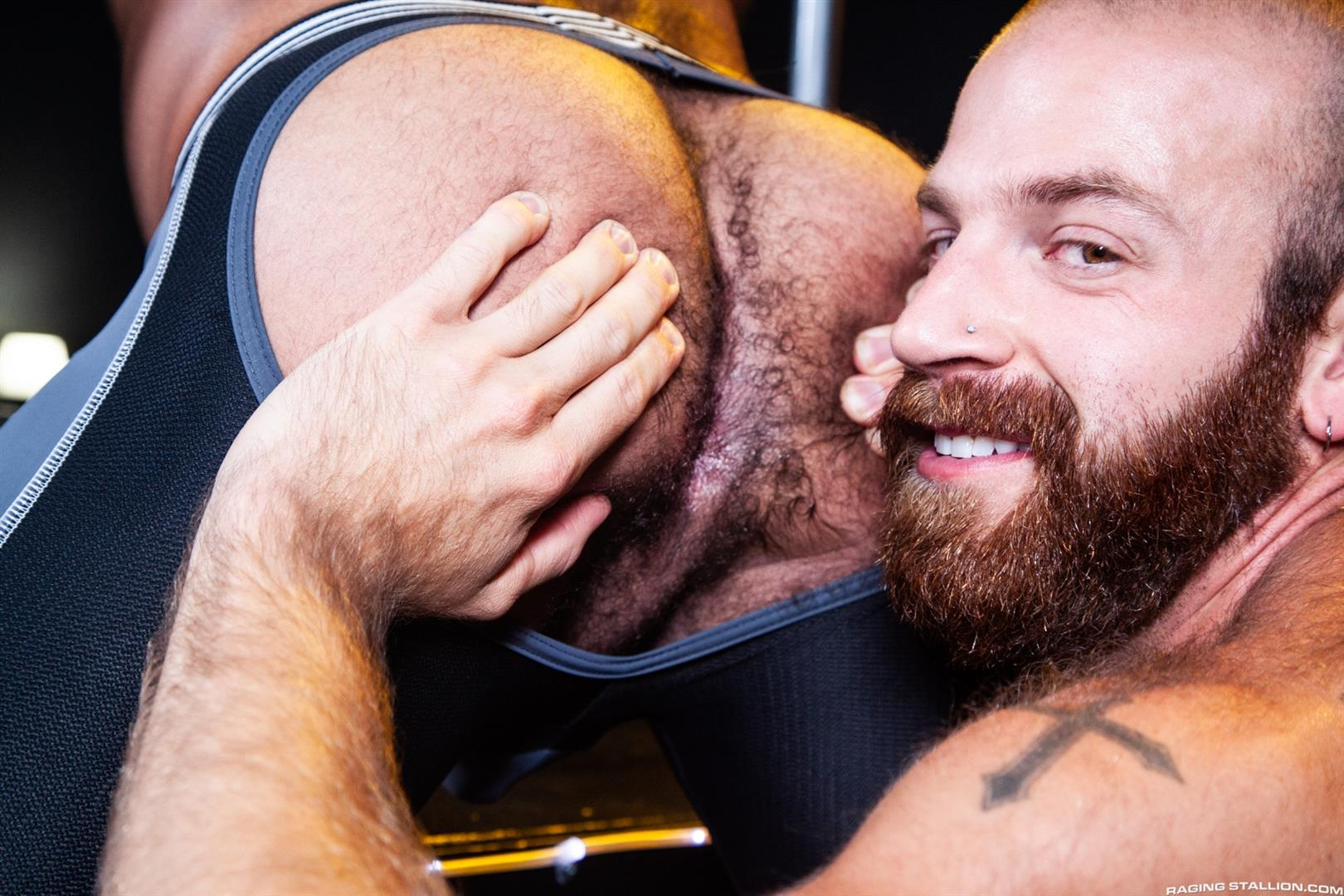 Raging-Stallion-Drake-Masters-and-James-Stevens-hairy-guys-cum-facial-11 Hairy Muscle Bear Drake Masters and Otter James Stevens Swap Cum Facials